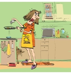 Angry woman cooking in the kitchen vector image vector image