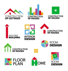 collection of logos construction and repair vector image