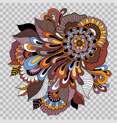 colored flower tattoo on transparent background vector image vector image