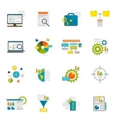 Data Analytics Flat Icons vector image