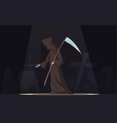 death with scythe symbol cartoon image vector image vector image
