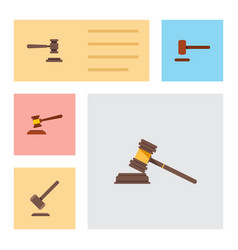 flat icon lawyer set of hammer legal tribunal vector image