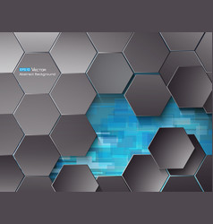 hexagons and blue rectangles vector image vector image