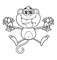 black and white greedy monkey vector image vector image