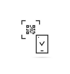 black thin line qr code scanning on white vector image vector image