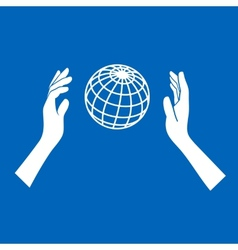 Globe Icon with Hands on Blue Background vector image