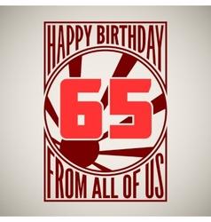 Retro poster Happy birthday vector image