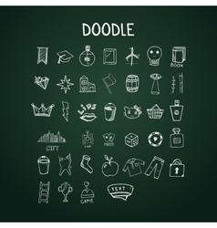 Set of doodle icons on chalkboard vector image