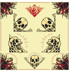 Skull and Rose Frames set 01 vector image vector image