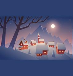 village in snow vector image