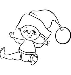 baby boy santa cartoon coloring page vector image vector image