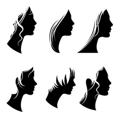 beautiful woman portraits fashion female faces vector image