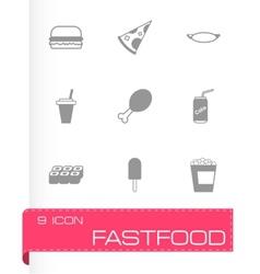 black fastfood icon set vector image vector image