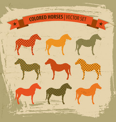 colored horses icons set vector image vector image