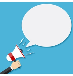 Hand holding megaphone with bubble speech vector image