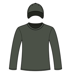 Long-sleeved T-shirt and cap template vector image vector image