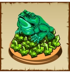 One frog figurine sitting on emerald vector image