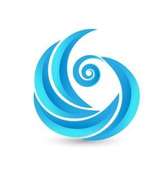 Swirly waves icon logo vector image vector image