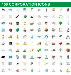 100 corporation icons set cartoon style vector image
