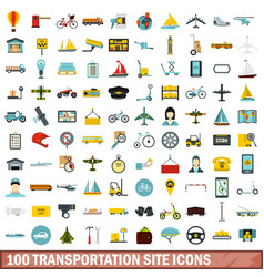100 transportation site icons set flat style vector
