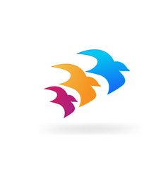 3 flying birds together icon vector