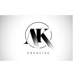 Ak brush stroke letter logo design black paint vector