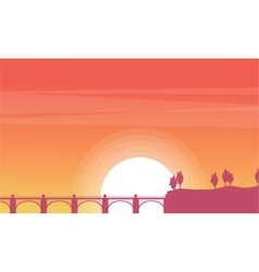 At sunrise bridge beauty scenery vector