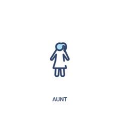 Aunt concept 2 colored icon simple line element vector