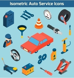 Auto Service Isometric Icons Set vector