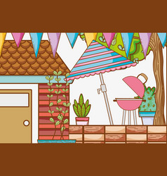 beautiful garden cartoon vector image