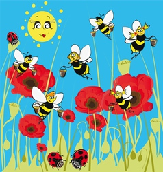 bees ladybirds on the meadow under the sun vector image