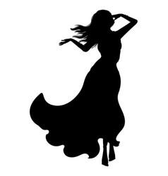 Belly dancer girl silhouette vector
