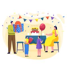 Birthday party kid at home family celebration vector