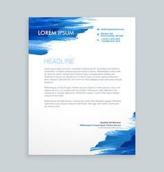 Blue flowing ink letterhead template vector