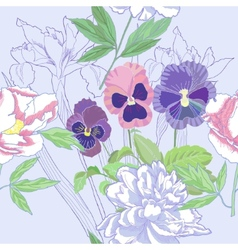 Blue seamless pattern with peonies and pansy vector image