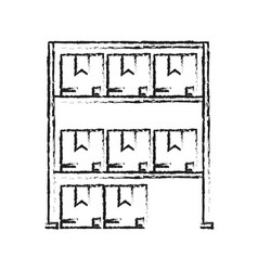Blurred silhouette cartoon shelf with sealed vector