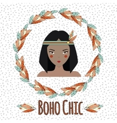 Boho indian girl in feather wreath vector