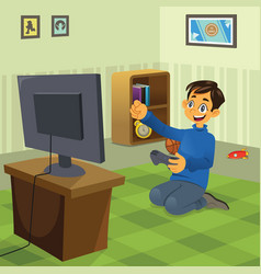 Boy playing video game vector