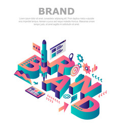Brand company concept background isometric style vector