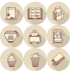 Breakfast beige round icons vector image