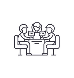 business meeting line icon concept business vector image