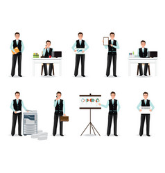 Businessman working in smart suit isolated on vector