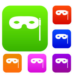 carnival mask set collection vector image
