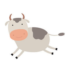 cartoon cute cow emblem for printing running vector image