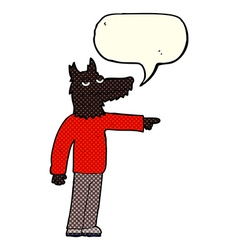Cartoon wolf man pointing with speech bubble vector