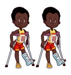 Cheerful and sad African American boy with a vector image