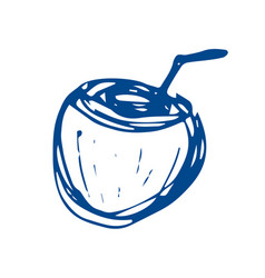 Coconut cocktail sketch on white background vector
