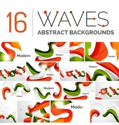 Collection of wave abstract backgrounds vector