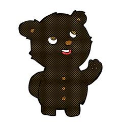 Comic cartoon cute black bear cub vector