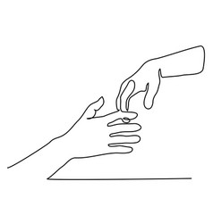 Continuous line drawing of holding hands together vector